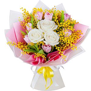 Букет из 15 тюльпанов +30% цветов с доставкой в Екатеринбурге